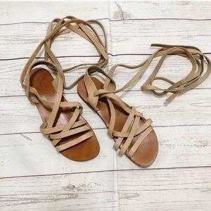 tan leather wrap around strappy gladiator sandals